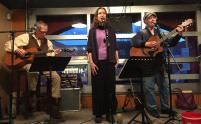Reed Engel, Julie Du Bois, and Sandy Vaughn at JoJo's Café in Osoyoos, BC (2017, photo by Todd Thorn)