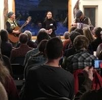 Performing the Lost Lake song at the Okanogan Land Trust evening of poetry (2017, photo by Marie Woodrow)